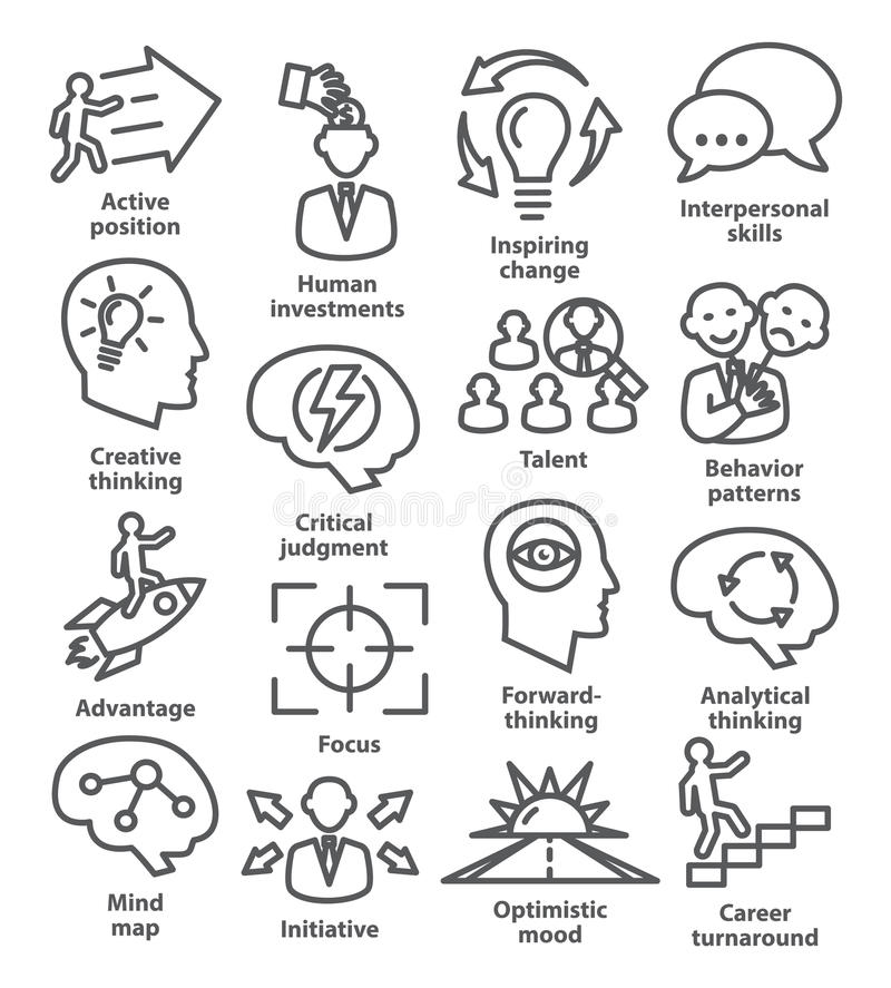 Zarządzanie przedsiębiorstwem ikony w kreskowym stylu Paczka 19 royalty ilustracja