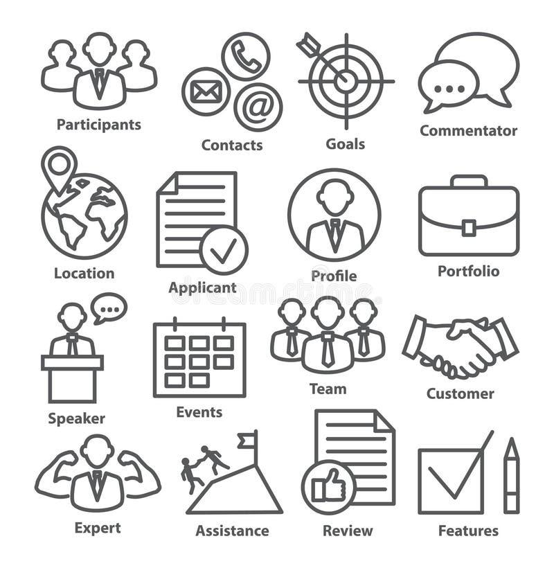 Zarządzanie przedsiębiorstwem ikony w kreskowym stylu Paczka 25 ilustracja wektor