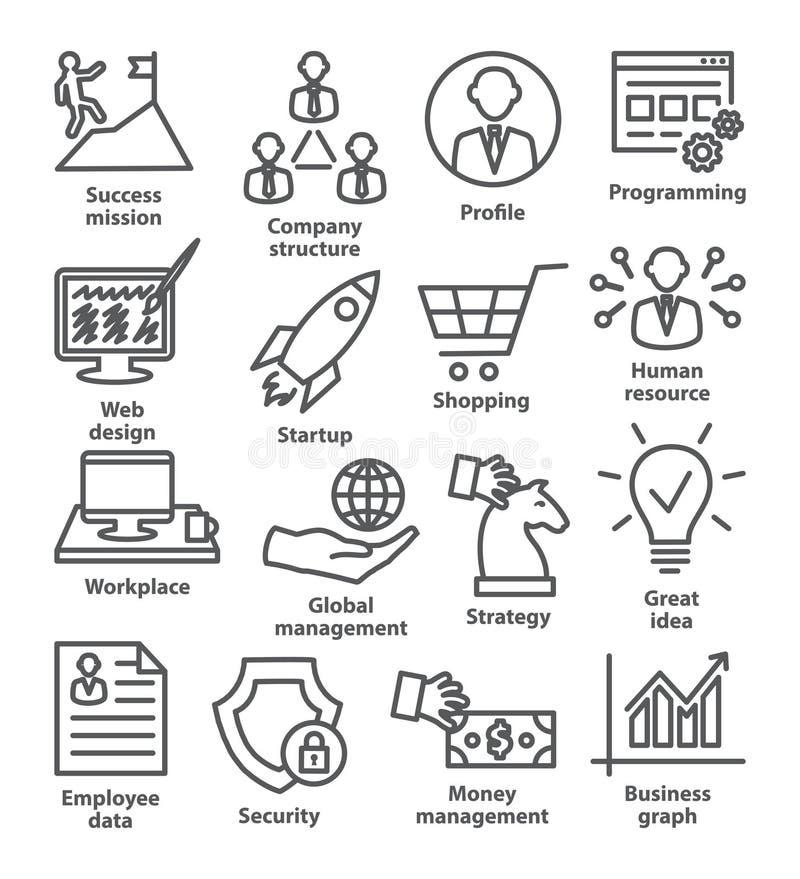 Zarządzanie przedsiębiorstwem ikony w kreskowym stylu Paczka 29 royalty ilustracja
