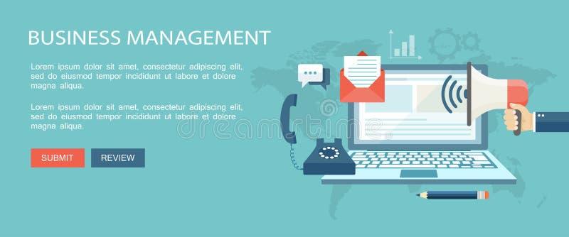 Zarządzanie przedsiębiorstwem płaska ilustracja z ikonami ilustracji