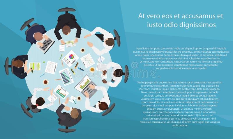 Zarządzanie przedsiębiorstwem pracy zespołowej spotkanie i brainstorming pojęcie Round stół w odgórnym punkcie widzenia royalty ilustracja