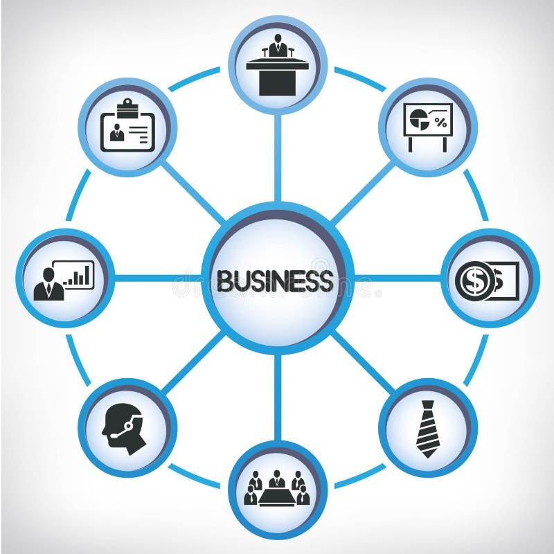 Zarządzanie przedsiębiorstwem sieć infographic royalty ilustracja