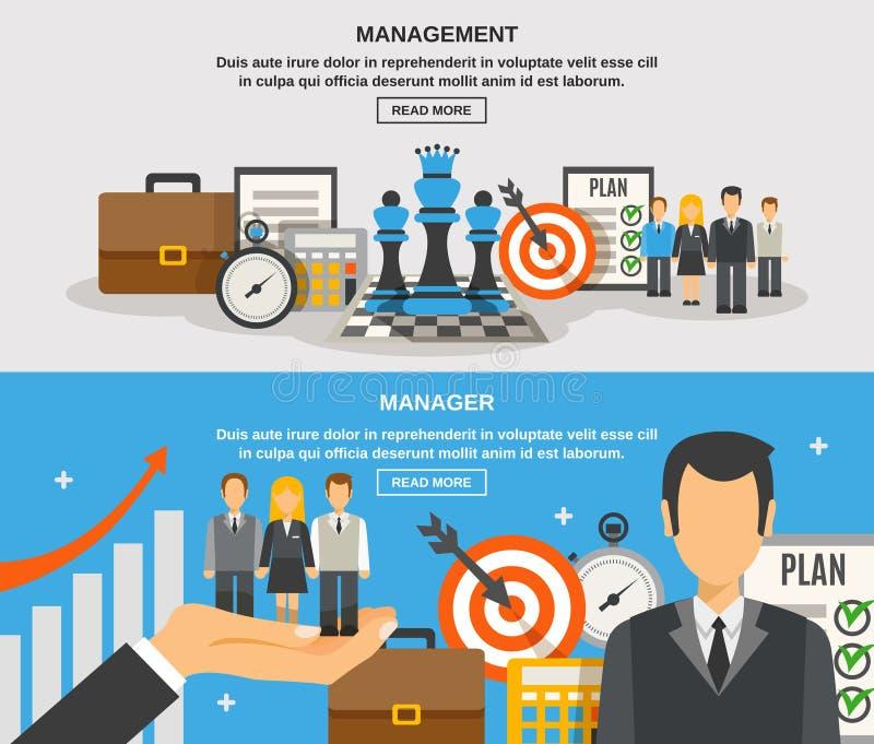 Zarządzanie sztandaru set ilustracja wektor