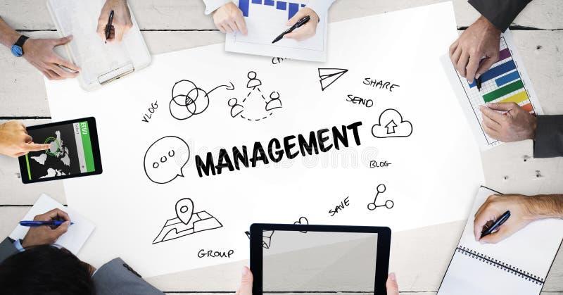 Zarządzanie tekst z ikonami i rękami ludzie biznesu ilustracji