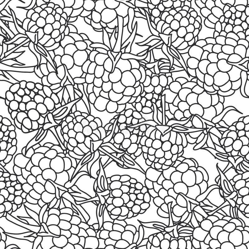 Zarzamora de la frambuesa con el esquema negro pettern inconsútil de las hojas encendido aislado en el fondo blanco para el sitio libre illustration
