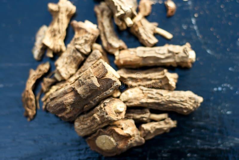 Zarzaparrilla india o Nannari en superficie de madera fotos de archivo libres de regalías