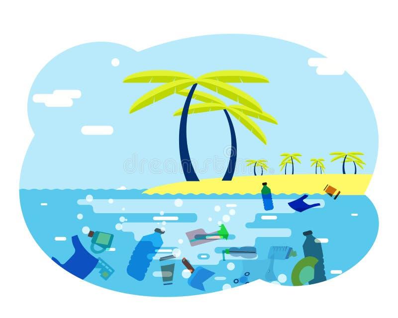 Zasób wodny oceanu denny grat zanieczyszczał brudnej chorej zanieczyszczenie środowiska kreskówki projekta wektoru płaską i ilustracja wektor