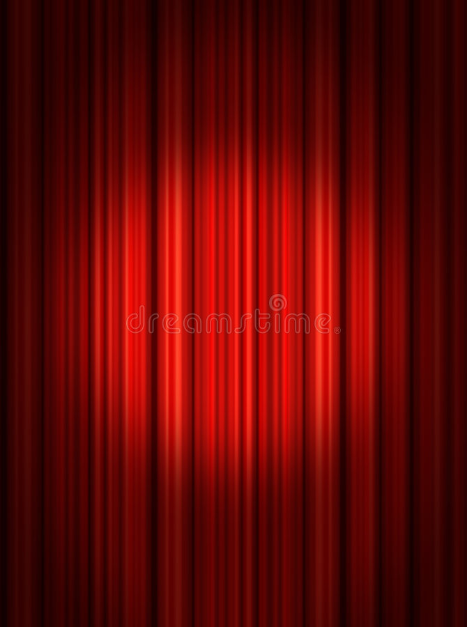 zasłoien czerwona światło reflektorów scena ilustracji