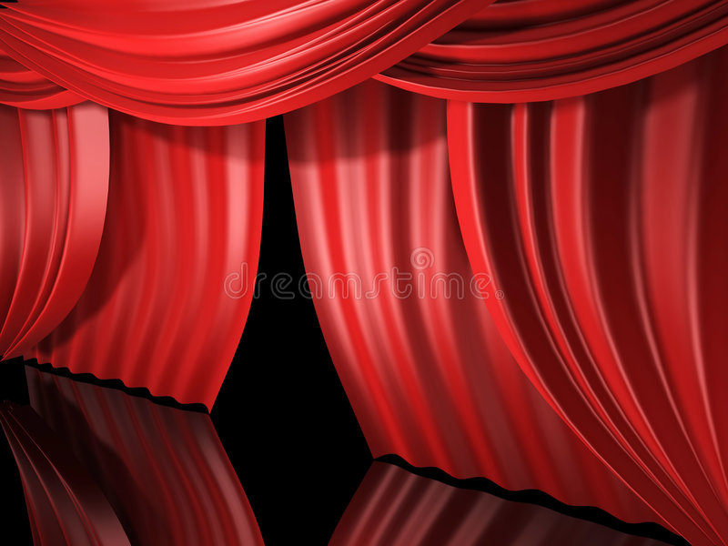 zasłony czerwoną scenę ilustracji