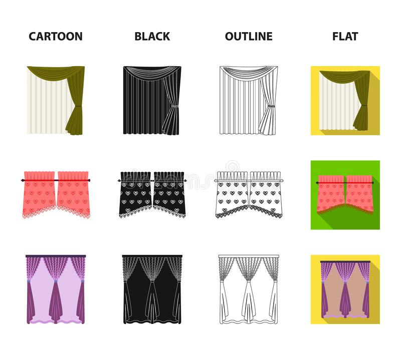 Zasłony, kij, karnisze i inna sieci ikona w kreskówce, czerń, kontur, mieszkanie styl Łęk, tkanina, tiulowe ikony w secie ilustracja wektor