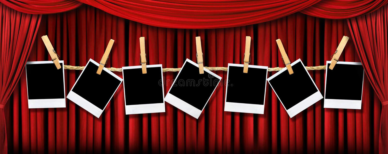 zasłony lig polaroidów dramatyczne czerwono teatr ilustracja wektor