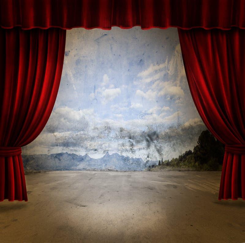 zasłony sceny aksamit obraz royalty free