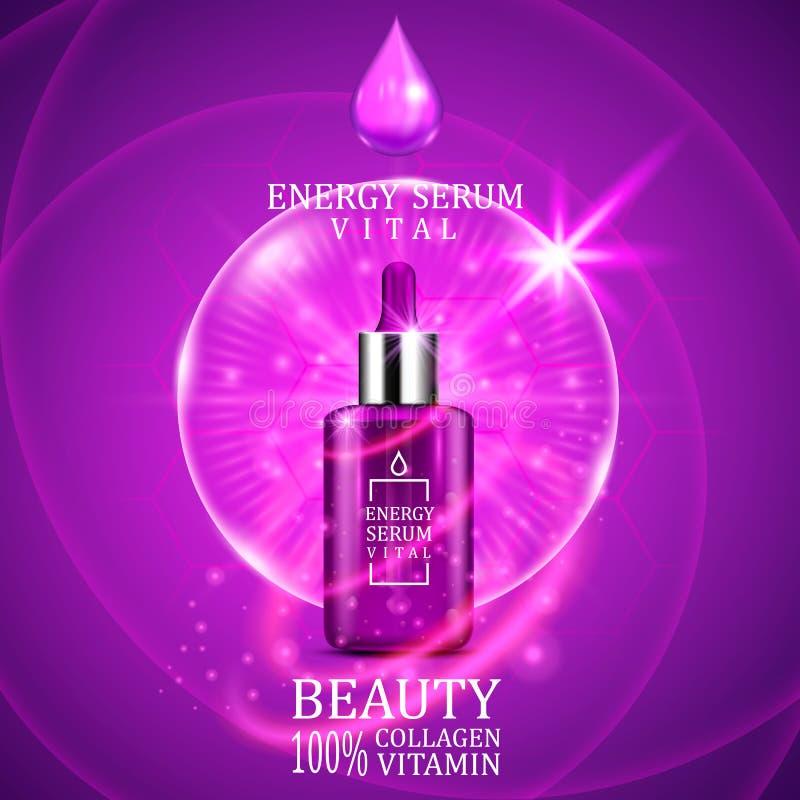 Zasadnicza serum wkraplacza butelka na olśniewającym purpurowym tle Realistyczny butelka widok z magicznymi zasadniczymi kroplami ilustracji