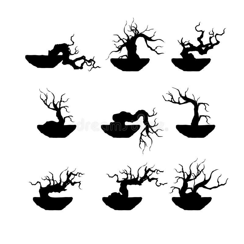Zasadza sylwetek ikony i rozgałęzia się sylwetkę, drzewo, szczegółowa wektorowa ilustracja zdjęcia stock