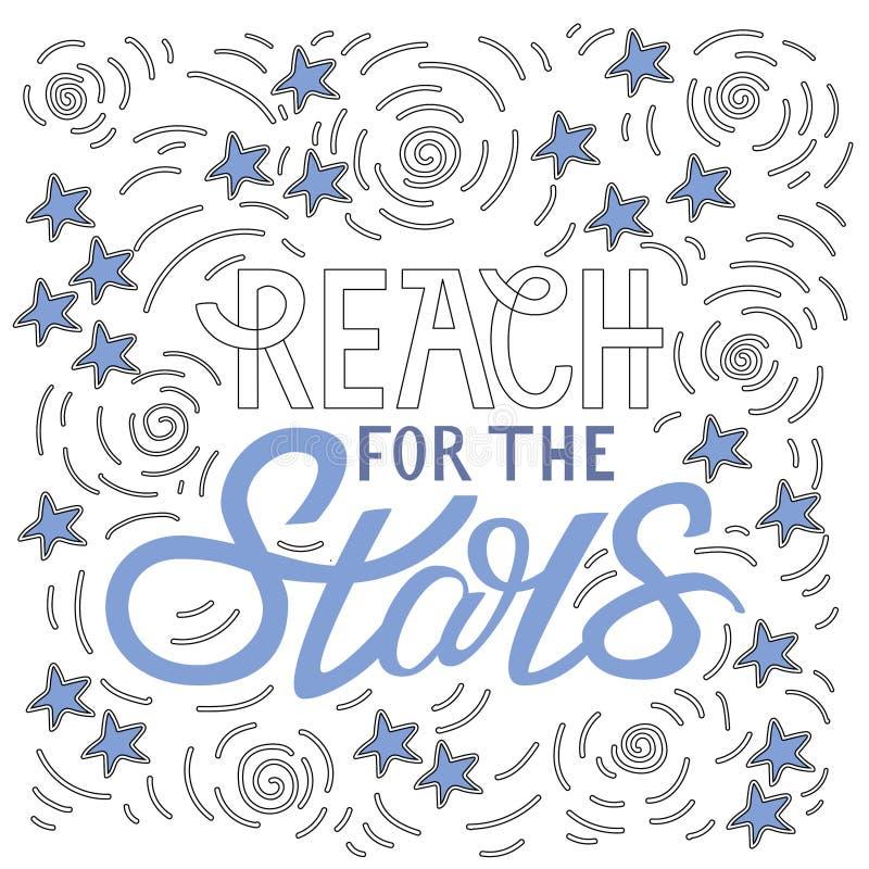 Zasięg dla gwiazd Ręka wytłoczony kaligraficzny projekt dla plakata ilustracji