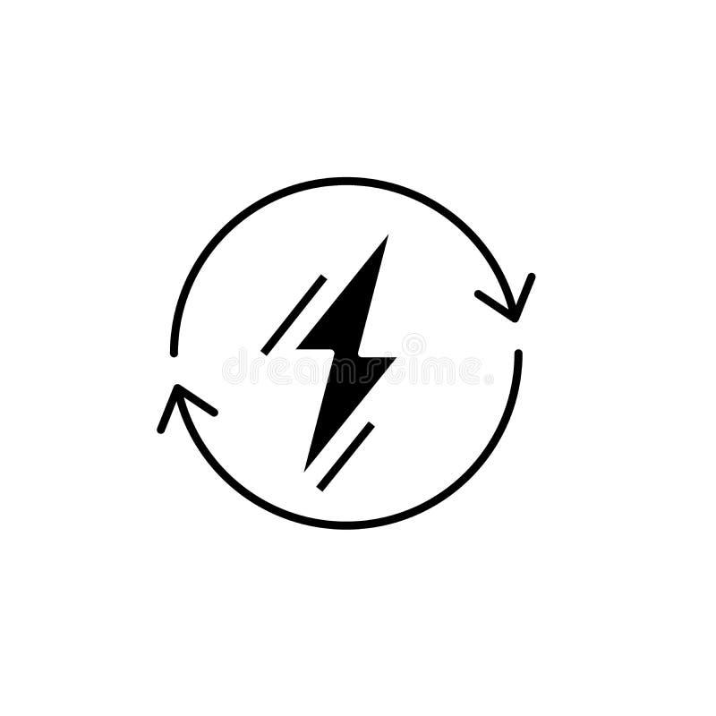 Zasila użycie czarną ikonę, wektoru znak na odosobnionym tle Władzy użycia pojęcia symbol, ilustracja royalty ilustracja