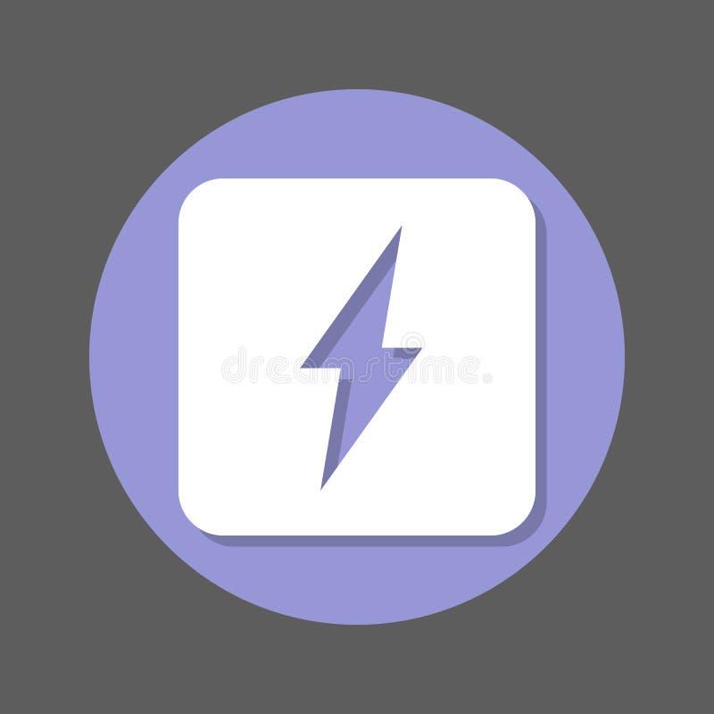 Zasilanie elektryczne, błyskawicowego rygla mieszkania ikona Round kolorowy guzik, kółkowy wektoru znak z cienia skutkiem Mieszka ilustracji