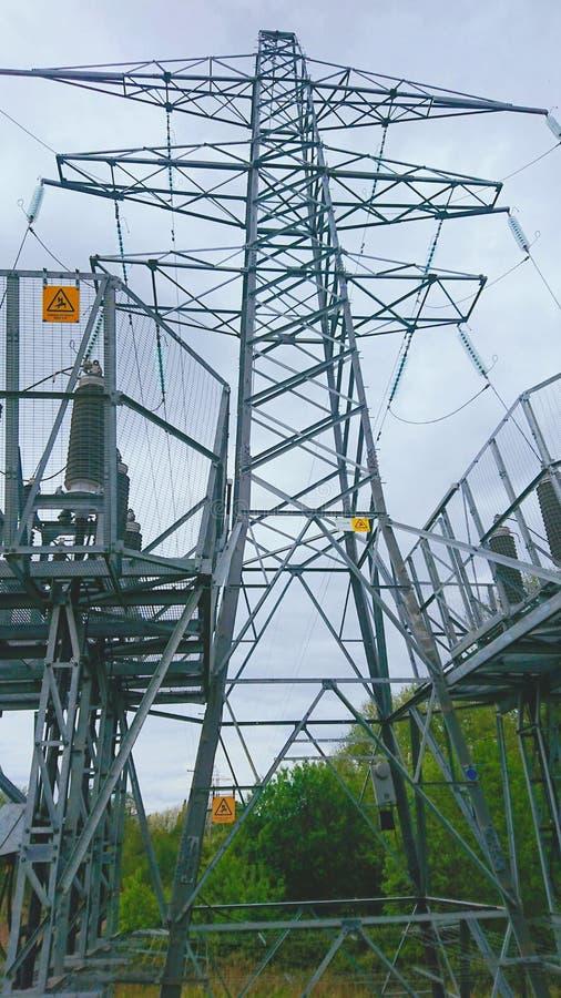 Zasilanie Elektryczne Z Siatką Pylonową Ze Znakami Zagrożenia obraz stock