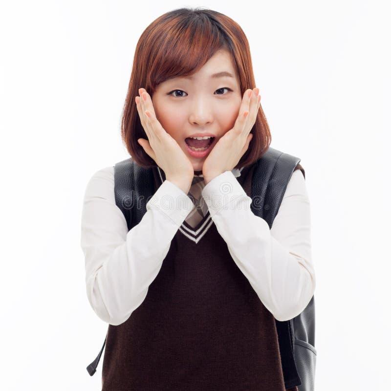Zaskakujący młody ładny Azjatycki uczeń zdjęcie royalty free