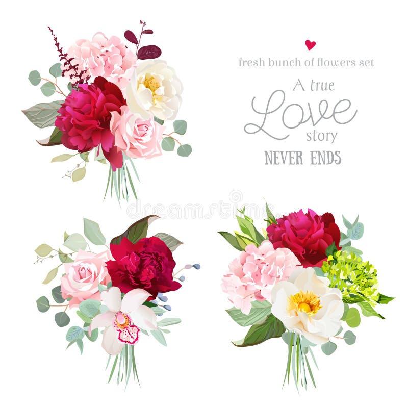 Zaskakuje bukiety wzrastał i różowi, peonia, zieleń hortensi, orchidei i eukaliptusa liście, royalty ilustracja