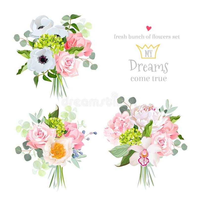 Zaskakuje bukiety wzrastał, peoni, anemonu, hortensi, goździka, orchidei i eukaliptusa liście, royalty ilustracja