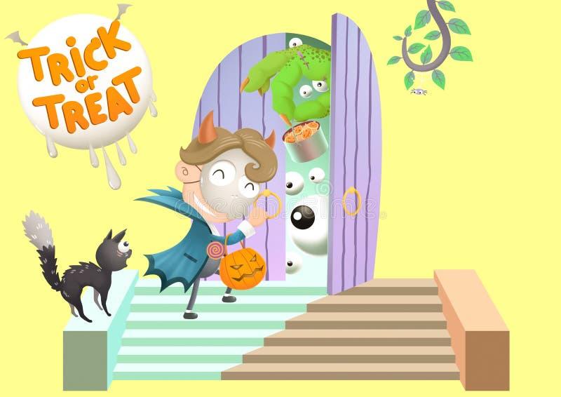 Zaskakuje pukania sąsiedztwa drzwi dla trikowego lub fundy przy Halloweenowym dniem royalty ilustracja