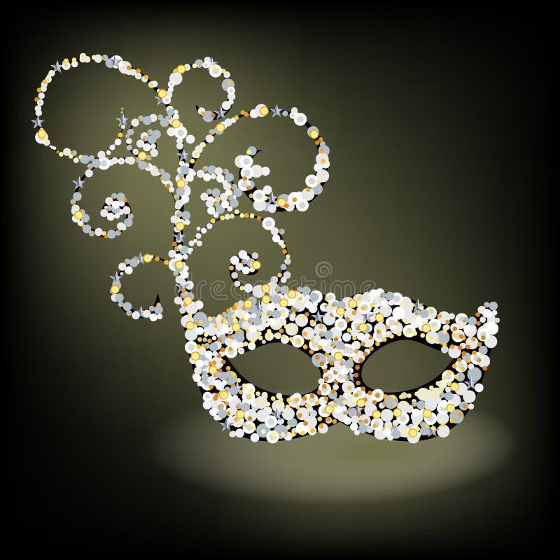 Zaskorupiająca się z paciorkami maska royalty ilustracja