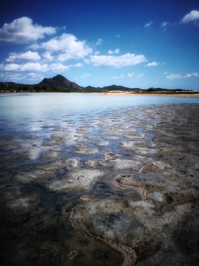 Zasolony staw w Sardinia zdjęcia stock