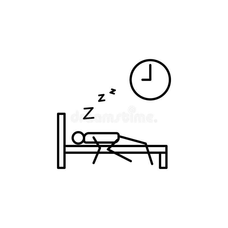zaspanie pracy konturu ikona Element gnuśna osoby ikona dla mobilnych pojęcia i sieci apps Cienka kreskowa ikony zaspania praca m ilustracji