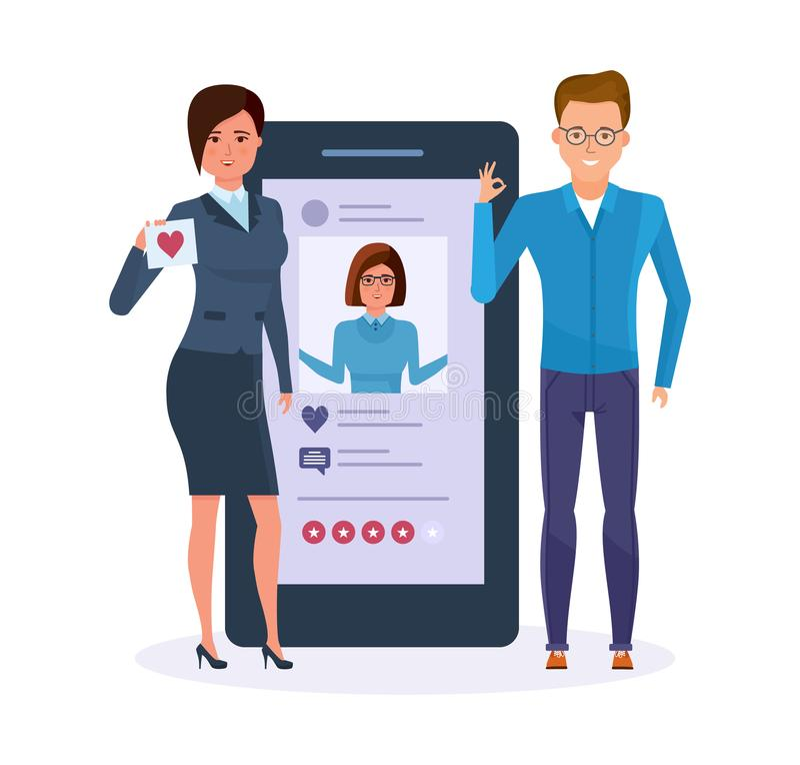 zastosowania mobilni SMS wiadomość, email Ogólnospołeczna sieć, systemu cenienia fotografia royalty ilustracja