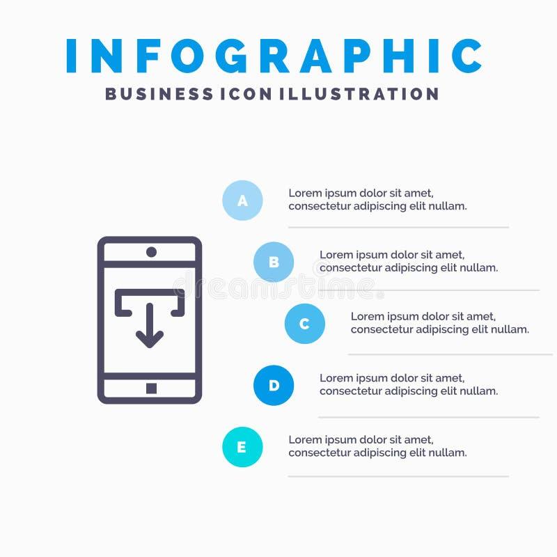 Zastosowanie, dane, ściąganie, wisząca ozdoba, Mobilna zastosowanie linii ikona z 5 kroków prezentacji infographics tłem royalty ilustracja
