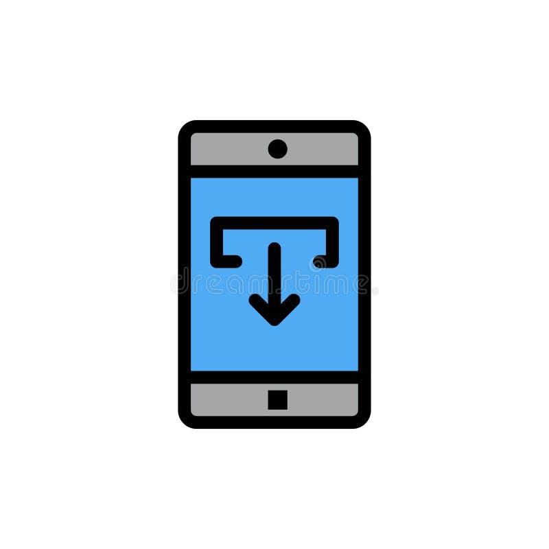 Zastosowanie, dane, ściąganie, wisząca ozdoba, Mobilna Podaniowa Płaska kolor ikona Wektorowy ikona sztandaru szablon royalty ilustracja