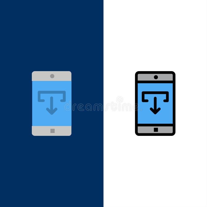 Zastosowanie, dane, ściąganie, wisząca ozdoba, Mobilne Podaniowe ikony Mieszkanie i linia Wypełniający ikony Ustalony Wektorowy B ilustracji