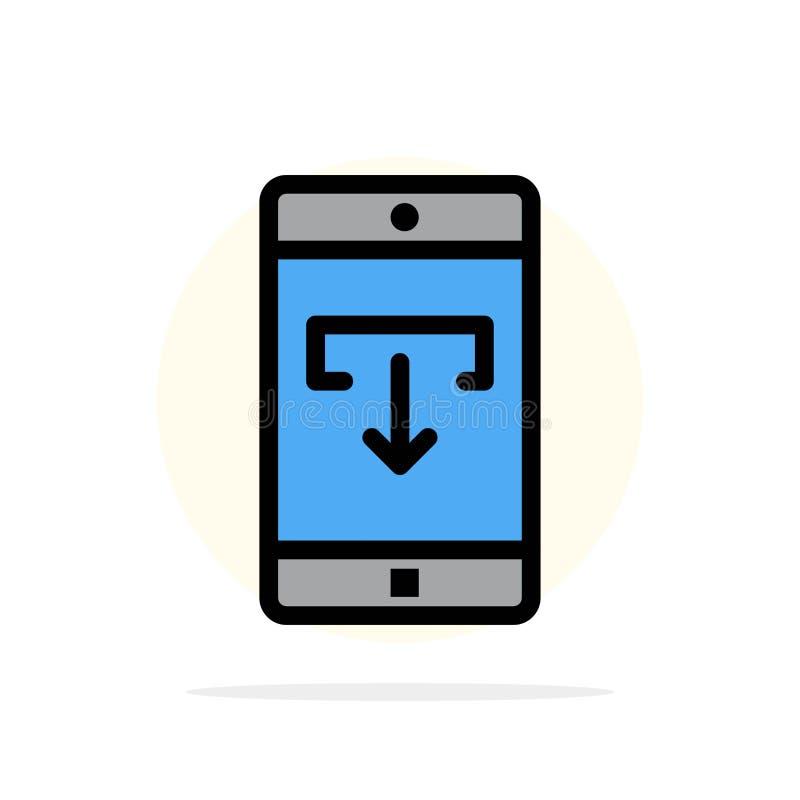 Zastosowanie, dane, ściąganie, wisząca ozdoba, Mobilnego Podaniowego Abstrakcjonistycznego okręgu tła koloru Płaska ikona ilustracja wektor