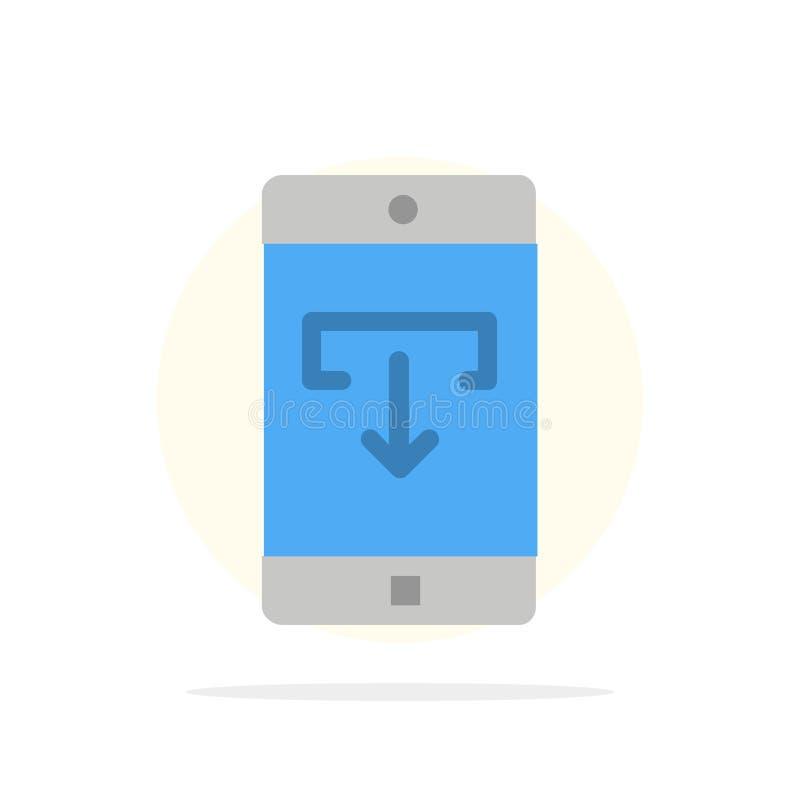 Zastosowanie, dane, ściąganie, wisząca ozdoba, Mobilnego Podaniowego Abstrakcjonistycznego okręgu tła koloru Płaska ikona ilustracji