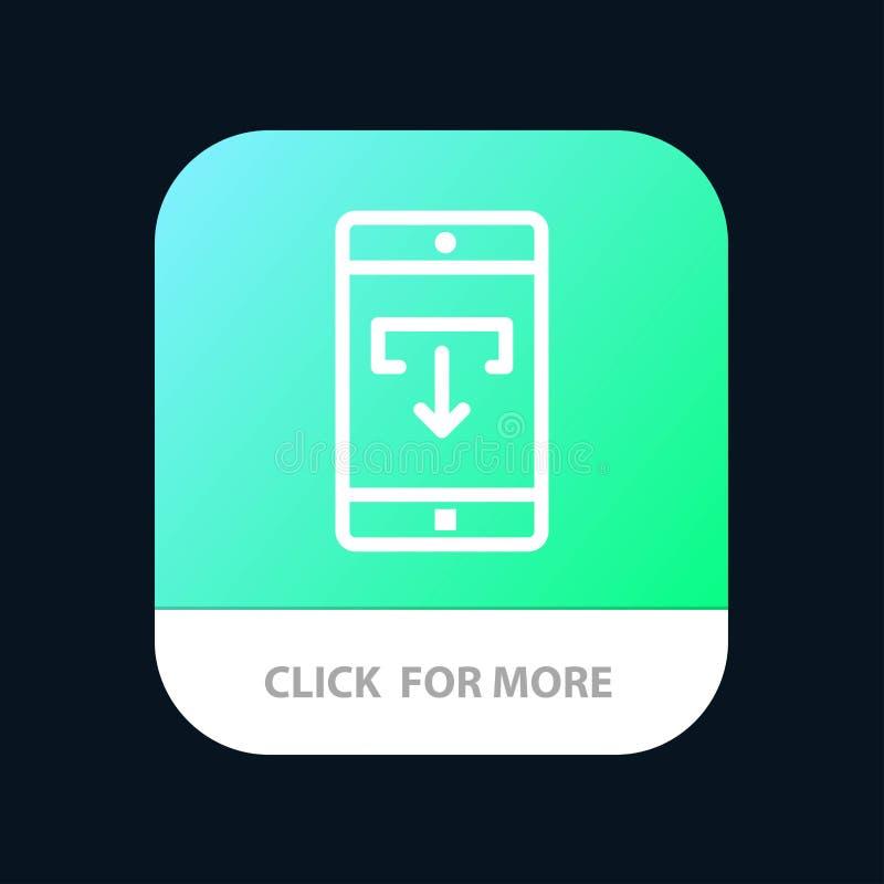Zastosowanie, dane, ściąganie, wisząca ozdoba, Mobilny Podaniowy Mobilny App guzik Android i IOS linii wersja ilustracja wektor