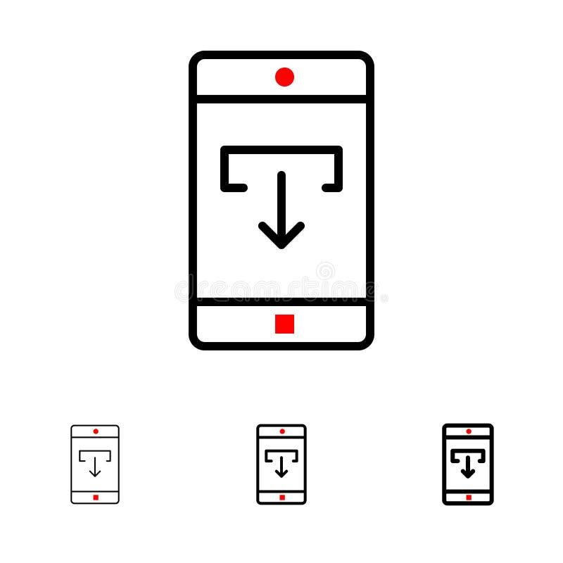 Zastosowanie, dane, ściąganie, wisząca ozdoba, Mobilny Podaniowy czerni linii ikony set, Śmiały i cienki ilustracja wektor