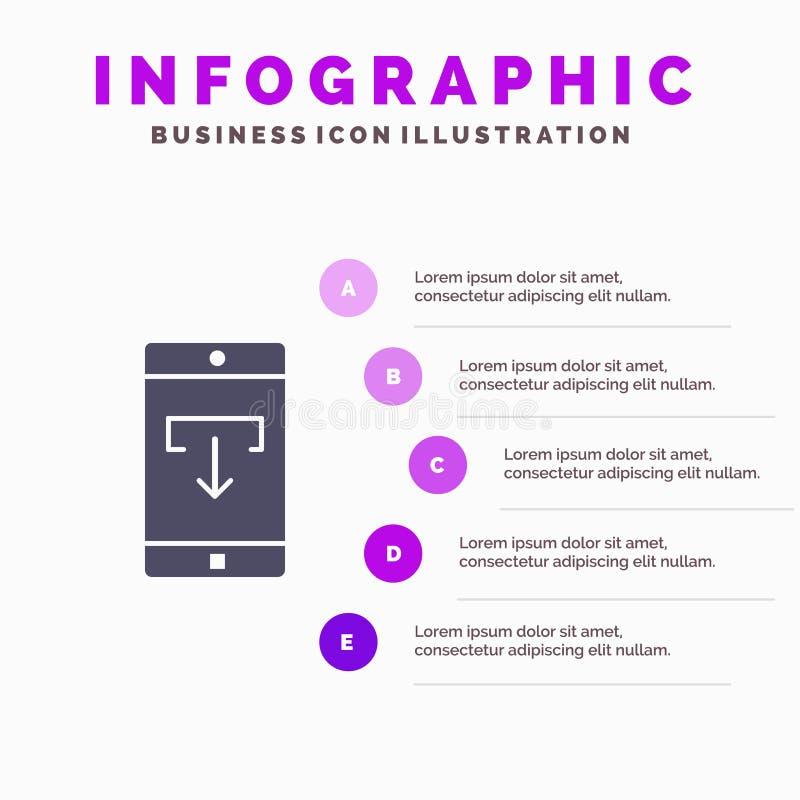 Zastosowanie, dane, ściąganie, wisząca ozdoba, Mobilny Podaniowy Stały ikony Infographics 5 kroków prezentacji tło ilustracji