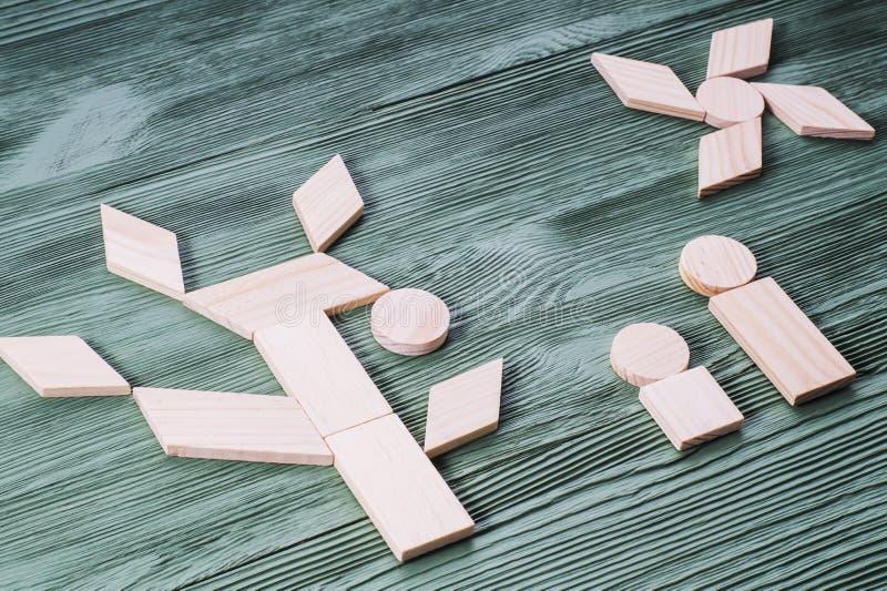 Zastosowanie drewniani bloki, etniczny motyw obrazy royalty free