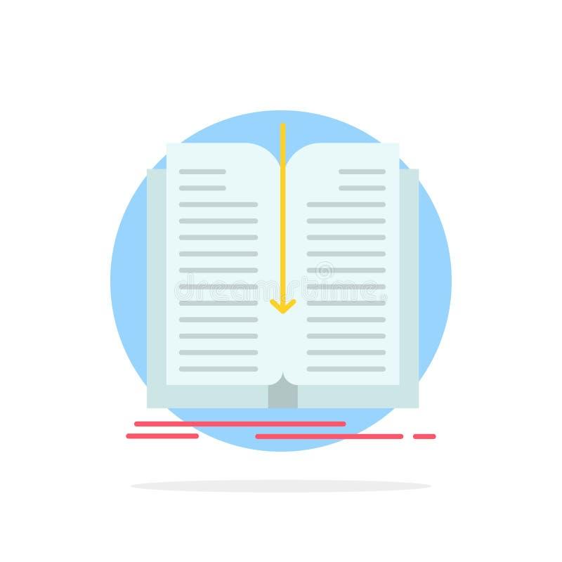 Zastosowanie, kartoteka, przeniesienie, Książkowego Abstrakcjonistycznego okręgu tła koloru Płaska ikona ilustracji