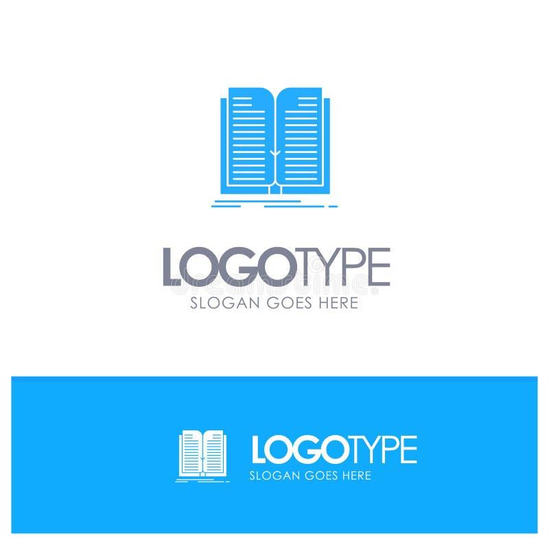 Zastosowanie, kartoteka, przeniesienie, Książkowy Błękitny Stały logo z miejscem dla tagline ilustracja wektor