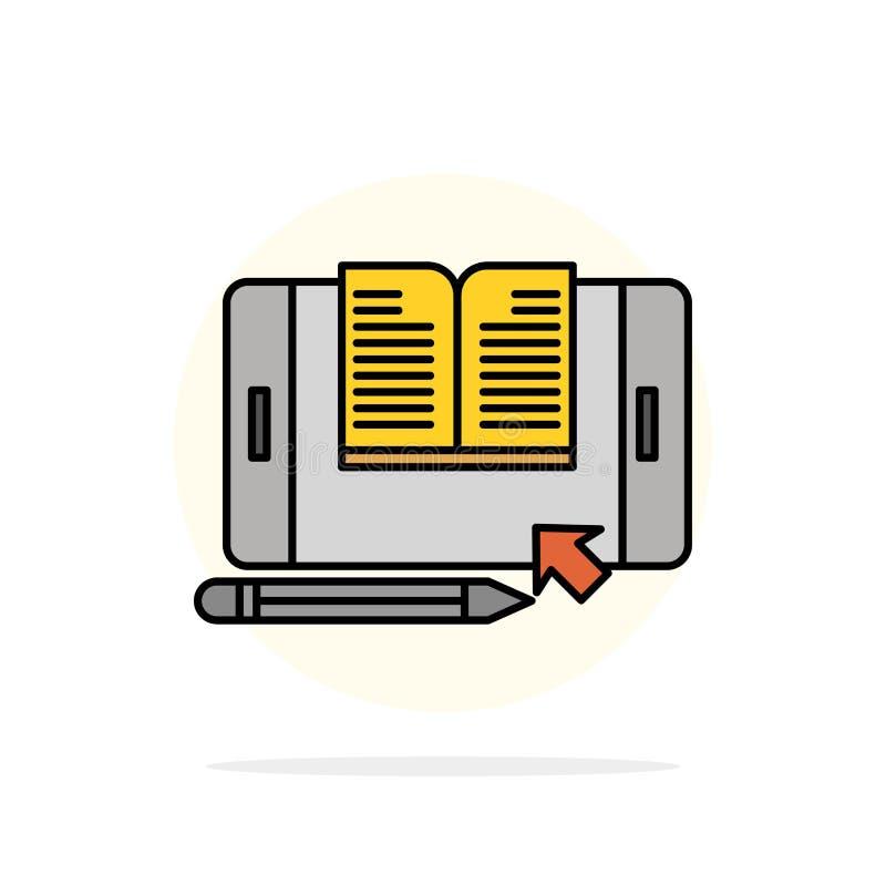 Zastosowanie, kartoteka, Smartphone, pastylka, przeniesienie okręgu Abstrakcjonistycznego tła koloru Płaska ikona royalty ilustracja