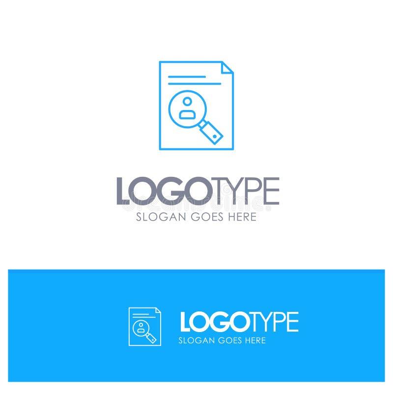 Zastosowanie, schowek, program nauczania, Cv, życiorys, Pięcioliniowy Błękitny konturu logo z miejscem dla tagline ilustracji