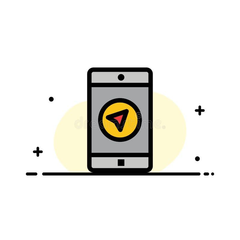 Zastosowanie, wiadomość, Mobilni Apps, poniter mieszkania Biznesowa linia Wypełniał ikona sztandaru Wektorowego szablon ilustracja wektor