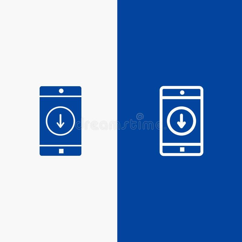 Zastosowanie, wisząca ozdoba, Błękitnej ikony błękita Stały sztandar, Mobilnej zastosowania, puszka, strzały linii i glifu Stałej ilustracji