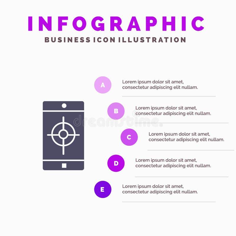 Zastosowanie, wisząca ozdoba, Mobilny zastosowanie, cel ikony Infographics 5 kroków prezentacji Stały tło ilustracja wektor