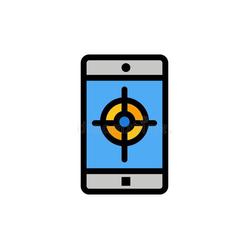 Zastosowanie, wisząca ozdoba, Mobilny zastosowanie, celu koloru Płaska ikona Wektorowy ikona sztandaru szablon ilustracja wektor