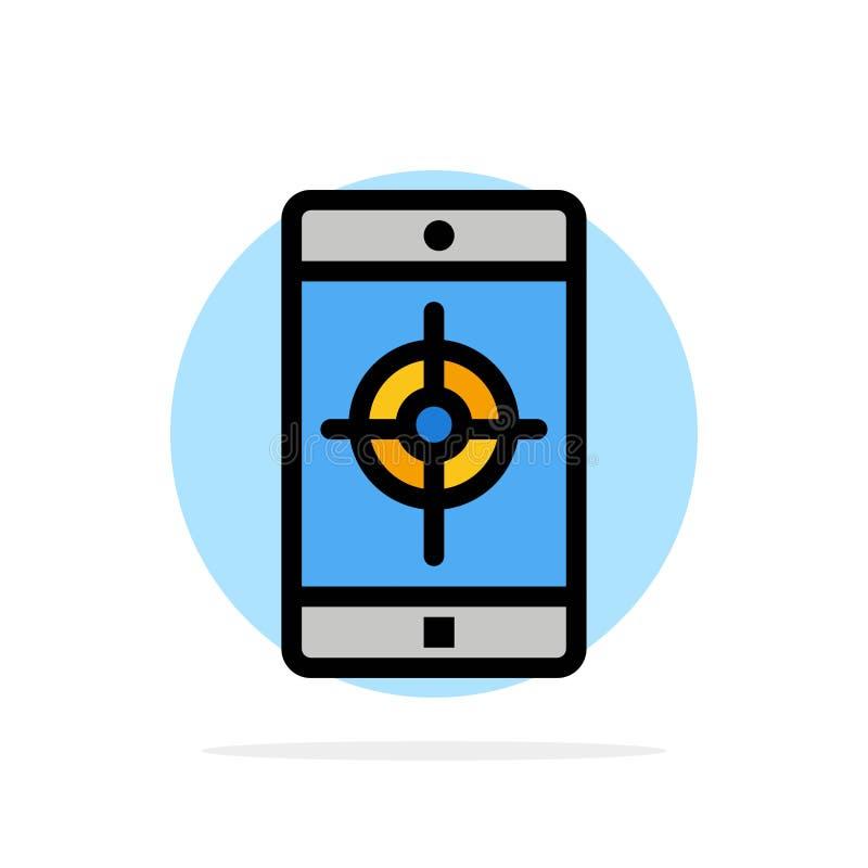 Zastosowanie, wisząca ozdoba, Mobilny zastosowanie, celu okręgu Abstrakcjonistycznego tła koloru Płaska ikona royalty ilustracja