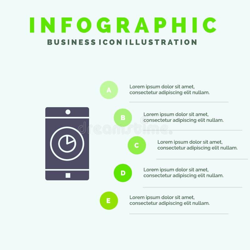 Zastosowanie, wisząca ozdoba, Mobilny zastosowanie, czas ikony Infographics 5 kroków prezentacji Stały tło ilustracja wektor