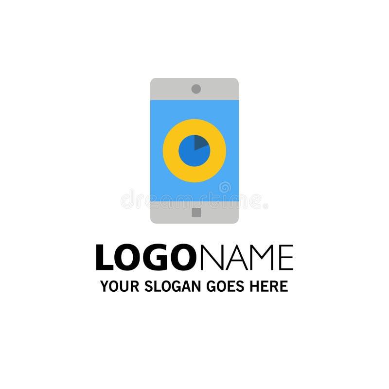 Zastosowanie, wisząca ozdoba, Mobilny zastosowanie, czasu logo Biznesowy szablon p?aski kolor royalty ilustracja